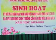 Sinh hoạt kỷ niệm 37 năm ngày Nhà giáo Việt Nam 20/11/1982 – 20/11/2019 và tuyên dương khen thưởng cán bộ giáo viên, nhân viên (Năm học 2019 -2020)